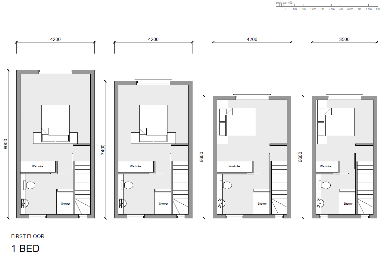 First floor layout in 1-Bed configeration