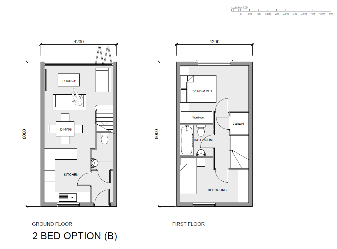 Layout for a 2-Bed (Family) configeration